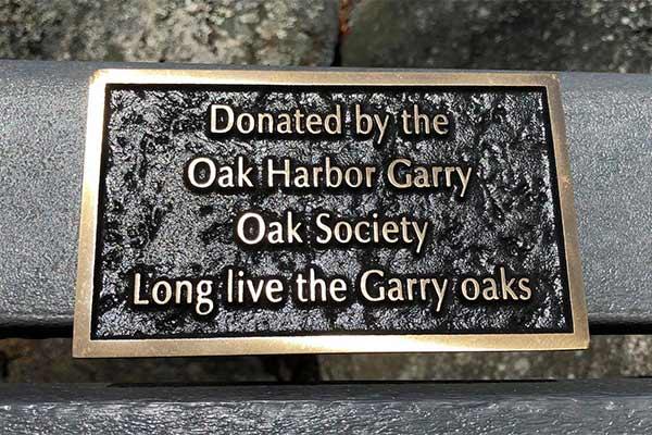 Park bench inscription plaque - Smith Park - Oak Harbor, WA