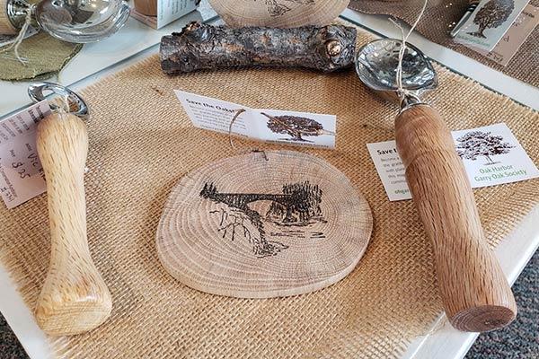 Garry Oak Coffee Scoops and Oak Wood Slice Stamping Art